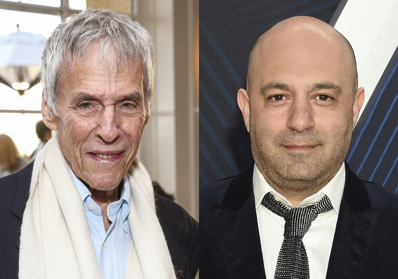 """Burt Bacharach attends the 2016 Newport Beach Film Festival Honors in Newport Beach, Calif. on April 23, 2016, left, and Daniel Tashian arrives at the 52nd annual CMA Awards in Nashville, Tenn. on Nov. 14, 2018. The pair collaborated on a five-song EP titled """"Blue Umbrella,"""" out on Friday. (AP Photo)"""