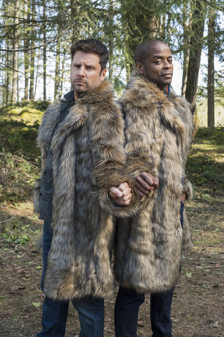 "In this image released by Peacock, James Roday, left, and Dule Hill appear in the new film ""Psych 2: Lassie Come Home,"" premiering on Wednesday with the debut of the new Peacock streaming service. (James Dittinger/Peacock via AP)"