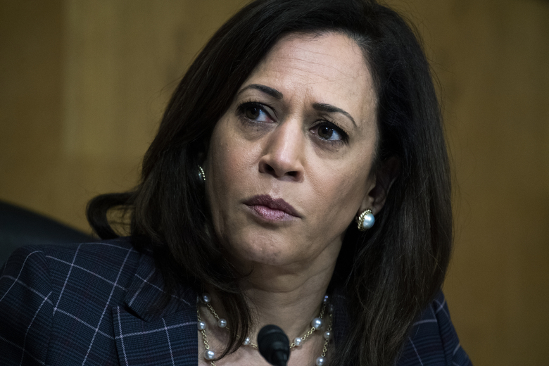 """FILE – In this Thursday, June 25, 2020 file photo, Sen. Kamala Harris, D-Calif., attends a Senate Homeland Security and Governmental Affairs Committee hearing on Capitol Hill in Washington. On Friday, July 3, 2020, The Associated Press reported on stories circulating online incorrectly asserting Harris said on June 18 that once President Trump is no longer in office """"and we have regained our rightful place in the White House,"""" his supporters will feel the """"vengeance of a nation."""" This fabricated quote originated in the satirical website Bustatroll.org in 2019 and is making the rounds again — but this time, people are sharing it as true. (Tom Williams/Pool via AP)"""
