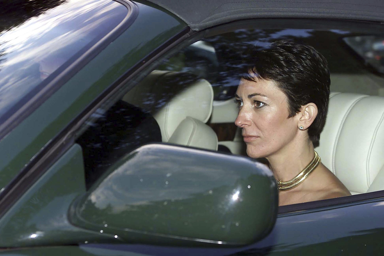 FILE – In this Sept. 2, 2000 file photo, British socialite Ghislaine Maxwell, driven by Britain's Prince Andrew leaves the wedding of a former girlfriend of the prince, Aurelia Cecil, at the Parish Church of St Michael in Compton Chamberlayne near Salisbury, England. The FBI said Thursday July 2, 2020, Ghislaine Maxwell, who was accused by many women of helping procure underage sex partners for Jeffrey Epstein, has been arrested in New Hampshire. (Chris Ison/PA via AP, File)