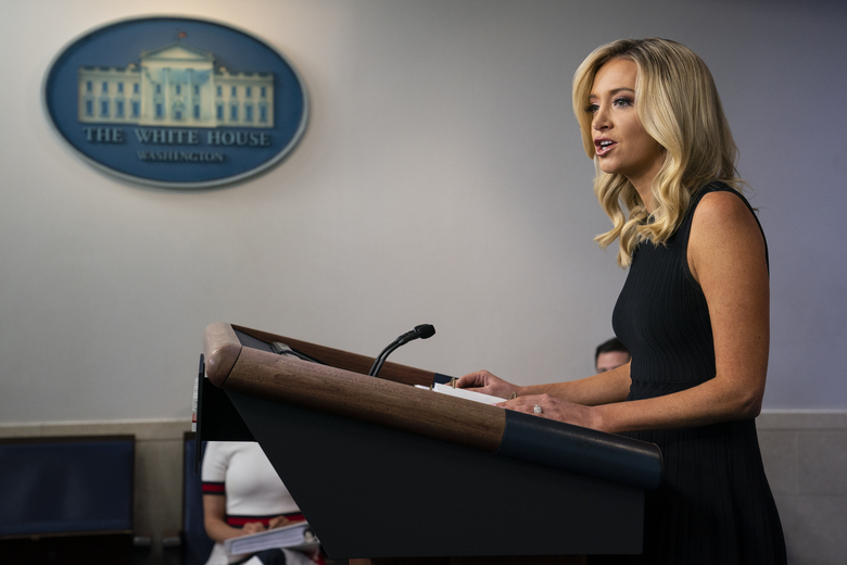 White House press secretary Kayleigh McEnany speaks during a press briefing at the White House, Tuesday, July 21, 2020, in Washington. (AP Photo/Evan Vucci)