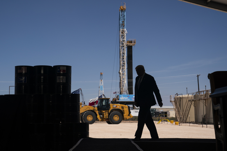 FILE – In this July 29, 2020, file photo President Donald Trump arrives to deliver remarks about American energy production during a visit to the Double Eagle Energy Oil Rig in Midland, Texas. Trump, like many fellow Republicans, holds out tax reductions and regulatory cuts as economic cure-alls and frames himself as a conservative champion in seemingly endless culture wars. But the president, still trying to fashion himself as an outsider, offers little detail about how he'd pull the levers of government in a second term.  (AP Photo/Evan Vucci, File)