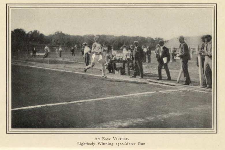 This image provided by the Library of Congress, shows James Lightbody winning the 1,500 meter race at the 1904 Olympic games in St. Louis. The marathon may be the single most memorable event from the 1904 Games. The St. Louis Games were the first at which gold medals were awarded to winners, and they remain the only medals made entirely of gold. That proved lucrative for a trio of Americans — gymnast George Eyser, swimmer Charles Daniels and aptly named track star James Lightbody — that each won three gold medals. (Library of Congress, Meeting of Frontiers via AP)