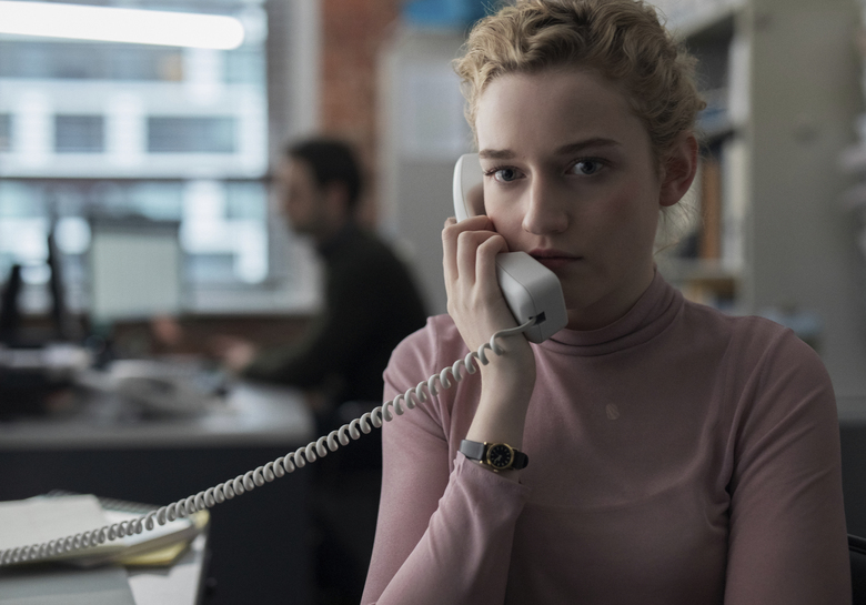 "This image released by Bleecker Street shows Julia Garner in a scene from ""The Assistant,"" available on Hulu beginning Monday. (Ty Johnson/Bleecker Street via"