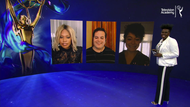 In this video grab issued Tuesday, July 28, 2020 by The Television Academy, Laverne Cox, from left, Josh Gad, Tatiana Maslany and Leslie Jones present the nominees for the 72nd Primetime Emmy Awards. (The Television Academy via AP)