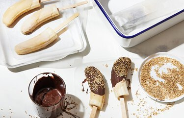 Chocolate and Tahini Dipped Frozen Bananas. MUST CREDIT: Photo by Tom McCorkle for The Washington Post.