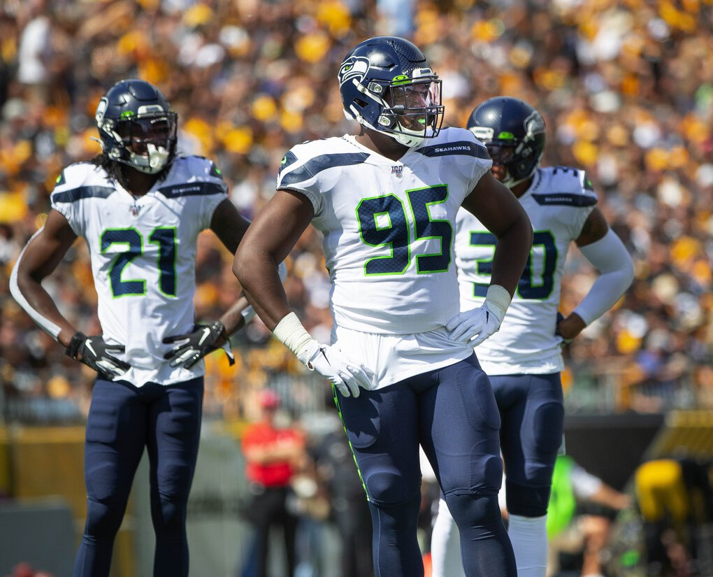 L.J. Collier saw his first action as a Seahawk against Pittsburgh on September 15, 2019 at Heinz Field. (Dean Rutz / The Seattle Times)