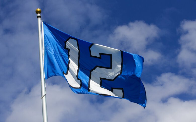 The 12th Man flag flies at Seahawks' practice facility during training camp at the VMAC in 2019. (Ellen M. Banner / The Seattle Times)