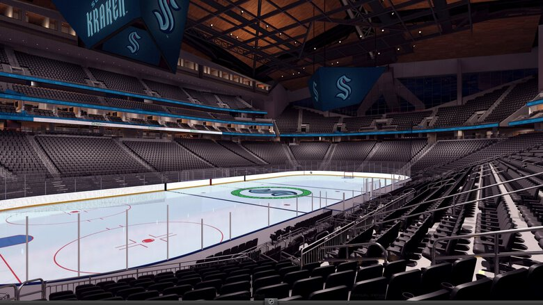 A new rendering of what the interior of Climate Pledge Arena may look like when the Kraken take the ice in 2021. (Courtesy of the Seattle Kraken)