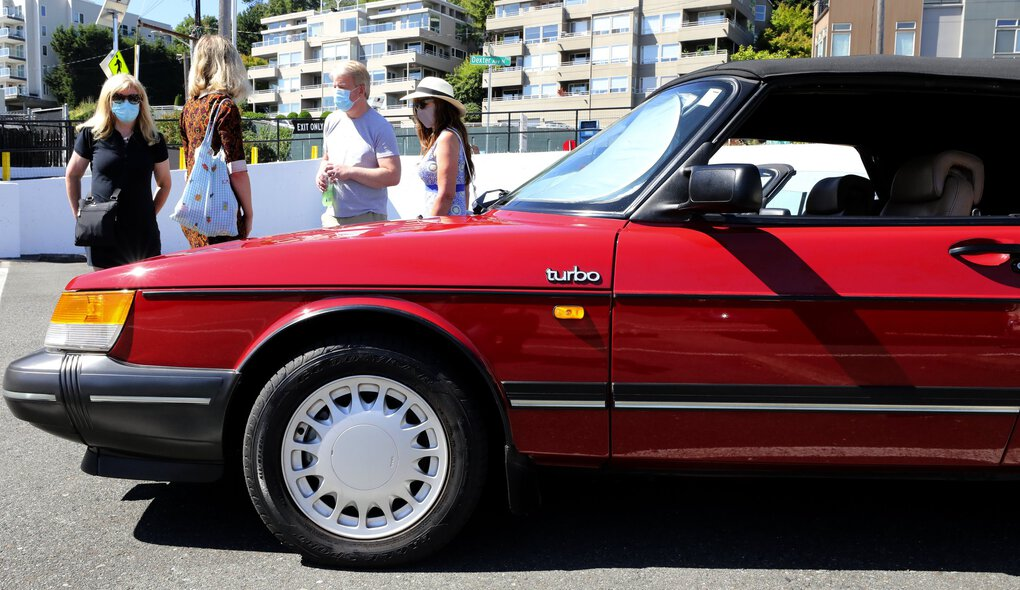 This Saab convertible was one of the few Saabs at the 12th annual Swedish National Holiday Classic Car Show. Saab went bankrupt in 2011.  (Alan Berner / The Seattle Times)