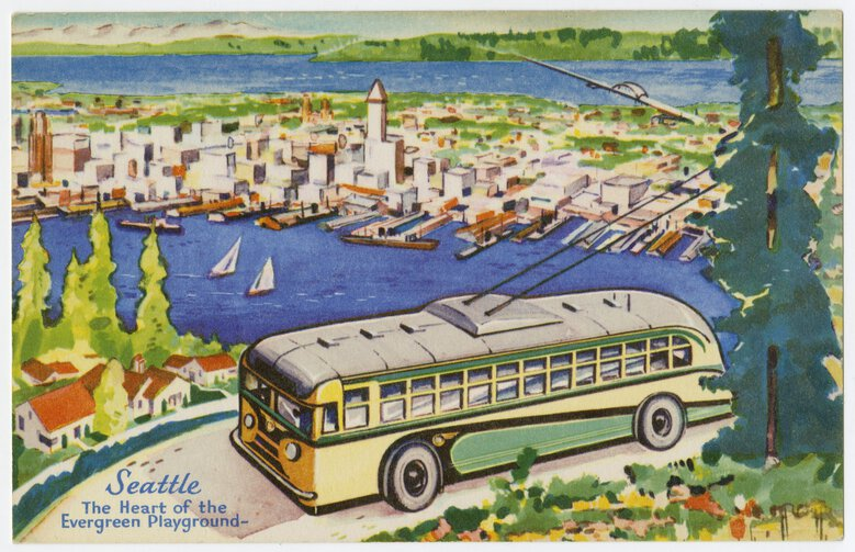 A postcard circa 1947 depicts a Seattle bus from the West Seattle viewpoint looking toward downtown. (Courtesy MOHAI, Post Card Collection, 200)