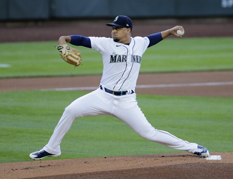 Seattle Mariners starting pitcher Justus Sheffield works against the Texas Rangers during the first inning of a baseball game, Saturday, Aug. 22, 2020, in Seattle. (John Froschauer / The Associated Press)