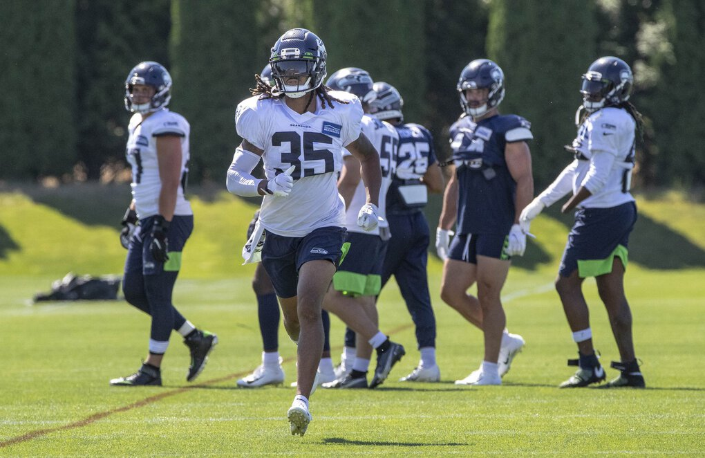 Cornerback Ryan Neal (35) runs through practice Tuesday.  The Seattle Seahawks. Held summer camp Tuesday, August 25, 2020. 214867 (Dean Rutz / The Seattle Times)