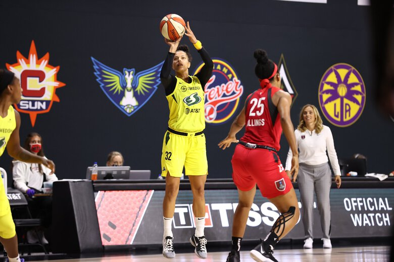 Alysha Clark of the Seattle Storm shoots the ball against the Atlanta Dream on August 6, 2020 at Feld Entertainment Center in Palmetto, Florida. (Ned Dishman / NBAE via Getty Images)