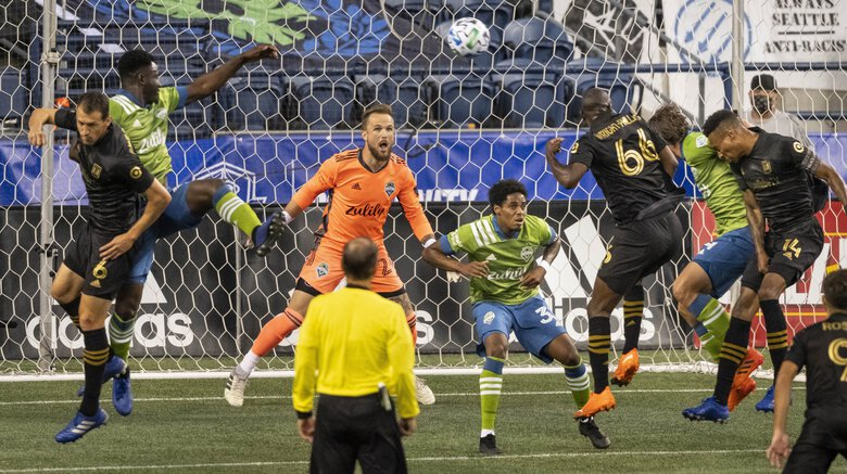 The Sounders give Stefan Frei much needed protection in the 1st half, keeping LAFC scoreless.  The Seattle Sounders played their first game in CenturyLink Field since March – against rival LAFC Sunday August 30, 2020. (Dean Rutz / The Seattle Times)