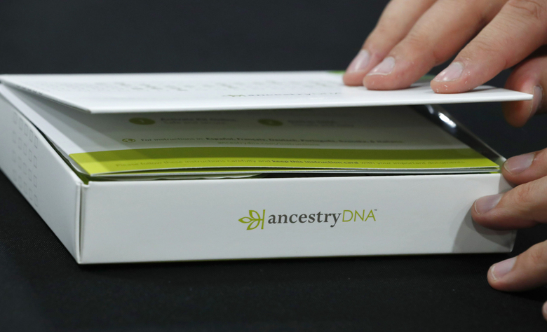 An attendee views an Ancestry.com DNA kit at the 2017 RootsTech Conference in Salt Lake City, Utah, on Feb. 9, 2017. (Bloomberg photo by George Frey).