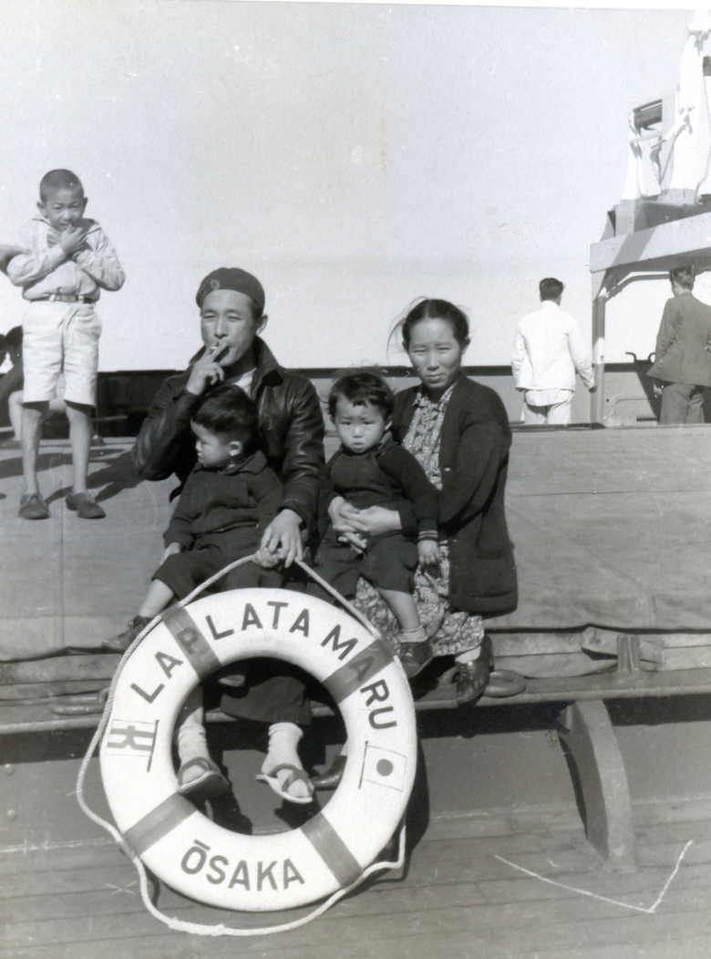 The La Plata Maru took the Kakitas – Howard, big brother Kenny, and parents Frank and Tomiko – to Japan in January 1940. (Family photo).