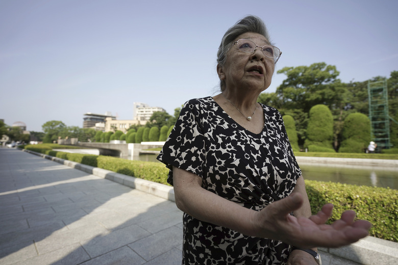 """Koko Kondo speaks during an interview with The Associated Press  near Hiroshima Peace Memorial Museum in Hiroshima, western Japan, Wednesday, Aug. 5, 2020. Kondo was determined to find the person who dropped the atomic bomb on Hiroshima, western Japan, the person that caused the suffering and the terrible facial burns of the girls at her father's church – and then square off and punch them in the face. Ten-year-old Kondo appeared on an American TV show called """"This is Your Life"""" that was featuring her father, Rev. Kiyoshi Tanimoto, one of six survivors profiled in John Hersey's book """"Hiroshima."""" Kondo stared in hatred at another guest: Capt. Robert Lewis, co-pilot of B-29 bomber Enola Gay that dropped the bomb. (AP Photo/Eugene Hoshiko)"""