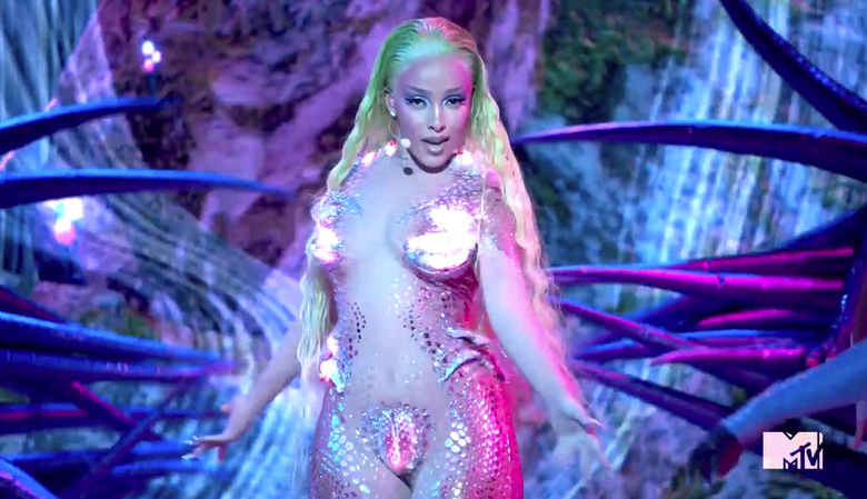 In this video grab issued Sunday, Aug. 30, 2020, by MTV, Doja Cat performs during the MTV Video Music Awards. (MTV via AP)