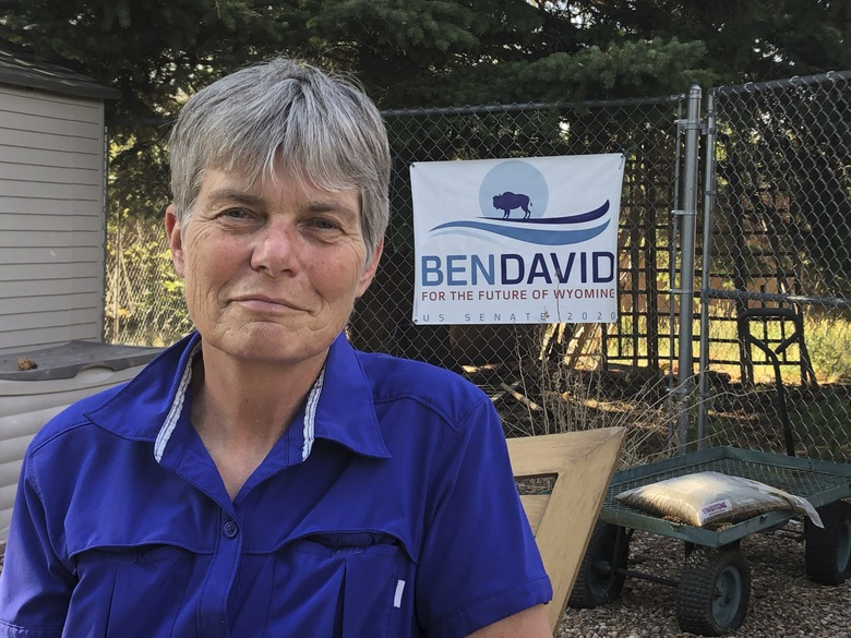 Merav Ben-David poses for a photo in Cheyenne, Wyo., Aug. 10, 2020. Ben-David won the Democratic nomination for U.S. Senate in Wyoming on Tuesday, Aug. 18. Ben-David will face Republican former U.S. Rep. Cynthia Lummis in the general election. (AP Photo/Mead Gruver)