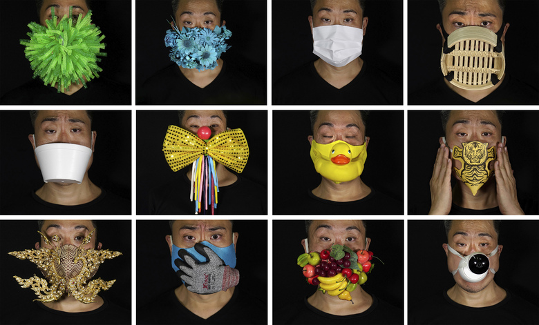 This combination of photos shows Edmond Kok, a Hong Kong theater costume designer and actor, wearing a variety of face masks he made to protect against the coronavirus in Hong Kong Thursday, Aug. 6, 2020. With little theater work because of the coronavirus pandemic, Kok has found a way to turn the now ubiquitous face mask into a creative opportunity. Since February, he has created more than 170 face masks inspired both by the pandemic and Hong Kong's political problems – not for actual use but as pieces of art. (AP Photo/Vincent Yu)