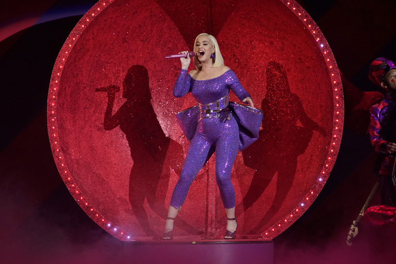 """FILE – Katy Perry performs during the B96 Jingle Bash in Rosemont, Ill., on Dec. 7, 2019. Perry's latest album """"Smile"""" will be released on Friday, Aug. 28. (Photo by Rob Grabowski/Invision/AP, File)"""