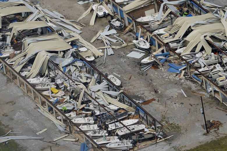 A boat storage facility is destroyed Thursday, Aug. 27, 2020, after Hurricane Laura went through the area near Lake Charles, La. (AP Photo/David J. Phillip)