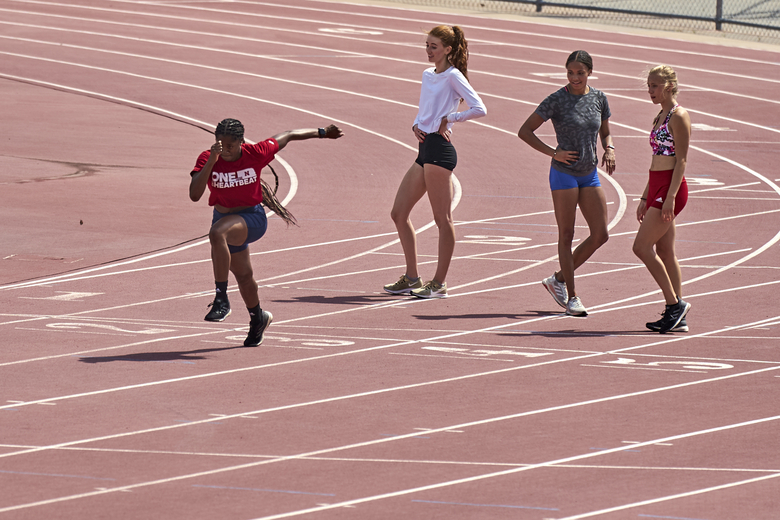 University of Nebraska athletes train in Lincoln, Neb., Wednesday, Aug. 12, 2020. The Big Ten won't play sports this fall because of concerns about COVID-19, becoming the first of college sports' power conferences to yield to the pandemic. The move announced Tuesday. (AP Photo/Nati Harnik)