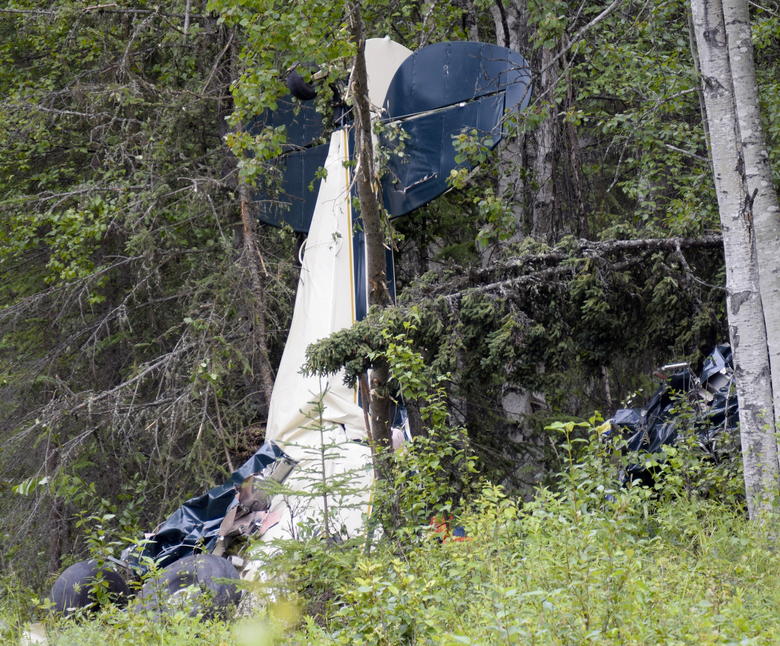 FILE – In this July 31, 2020, file photo, a plane rests in brush and trees after a midair collision outside of Soldotna, Alaska. State Rep. Gary Knopp, an Alaska state lawmaker who was involved in a July midair collision that killed seven people, was piloting his plane even though his medical flight certification was denied eight years ago because of vision problems, the National Transportation Safety Board reported Tuesday, Aug. 25, 2020. (Jeff Helminiak/Peninsula Clarion via AP, F-le)