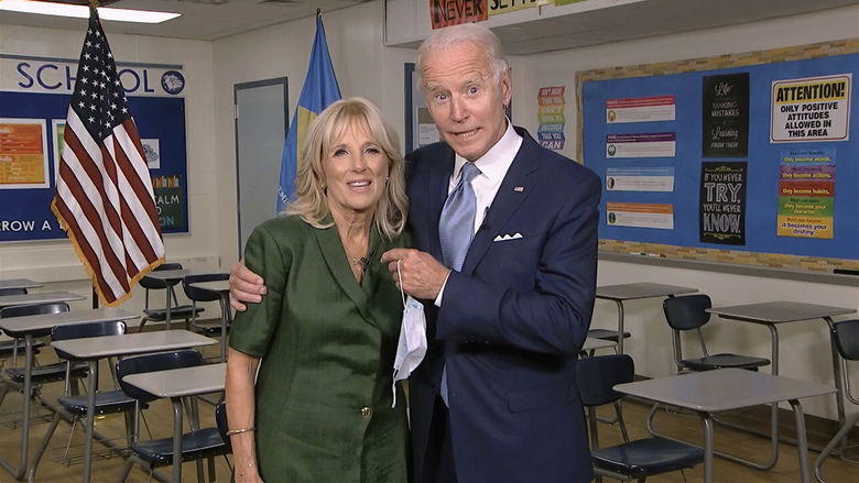 In this image from video, Jill Biden, is joined by her husband, Democratic presidential candidate former Vice President Joe Biden, after speaking during the second night of the Democratic National Convention on Tuesday, Aug. 18, 2020. (Democratic National Convention via AP)