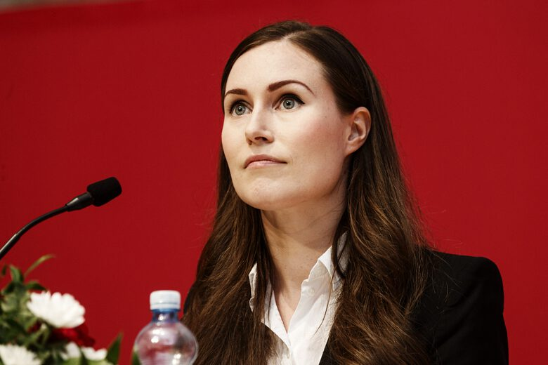 Finnish Prime Minister and newly elected Chair of The Social Democratic Party (SDP) of Finland, Sanna Marin speaks at the 46th Social Democratic convention in Tampere, Finland, on Sunday Aug. 23, 2020. (Roni Rekomaa/Lehtikuva via AP)