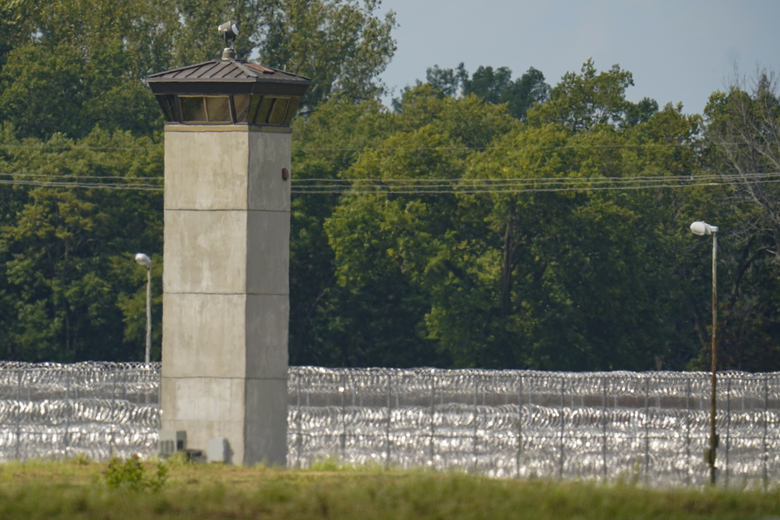 The federal prison complex in Terre Haute, Ind., is shown Wednesday, Aug. 26, 2020. Lezmond Mitchell, the only Native American on federal death row, is set to die Wednesday for the slayings of a 9-year-old and her grandmother nearly two decades ago. (AP Photo/Michael Conroy)