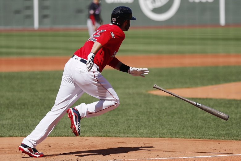 Boston Red Sox's J.D. Martinez runs on his ground-rule double during the second inning of a baseball game against the Washington Nationals, Sunday, Aug. 30, 2020, in Boston. (AP Photo/Michael Dwyer)