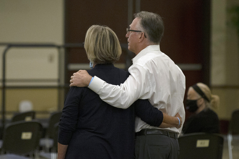 FILE – In this June 29, 2020, file photo, Gay and Bob Hardwick, who were attacked in their Stockton home in 1978 by the Golden State Killer, Joseph James DeAngelo, stand as the charges are read against DeAngelo during a hearing in Sacramento, Calif. Survivors plan to confront DeAngelo this week during an extraordinary four days of court hearings before the 74-year-old is sentenced to life in prison. (AP Photo/Rich Pedroncelli, File)