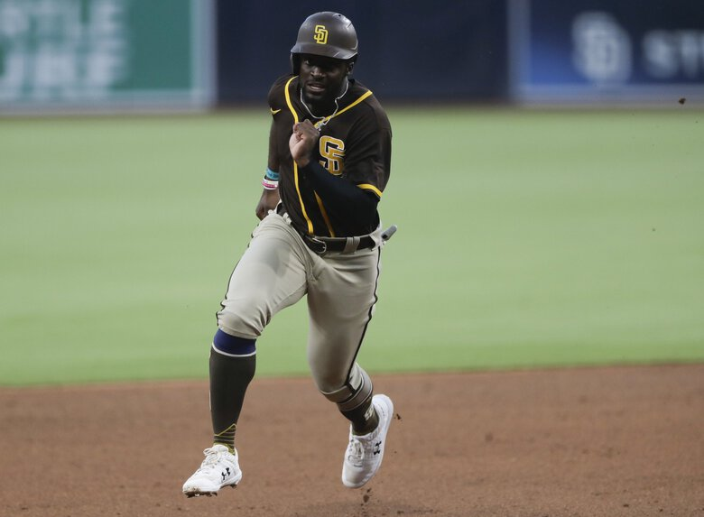 Outfielder Taylor Trammell was acquired by the Mariners on Sunday in a trade with the San Diego Padres. (Gregory Bull / AP)