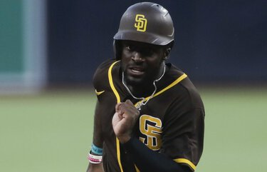 San Diego Padres' Taylor Trammell during baseball training at Petco Park Thursday, July 16, 2020, in San Diego. (AP Photo/Gregory Bull) CAGB