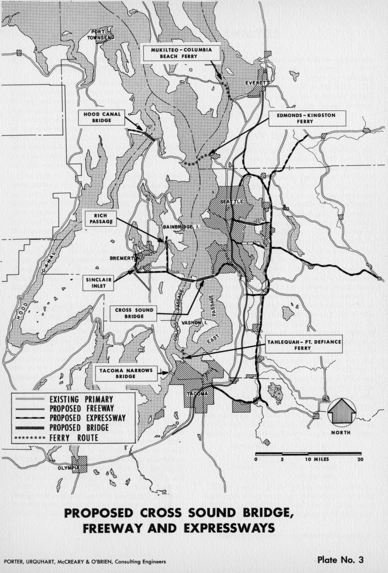 The proposed network of cross-Sound bridges. (Washington State Library)