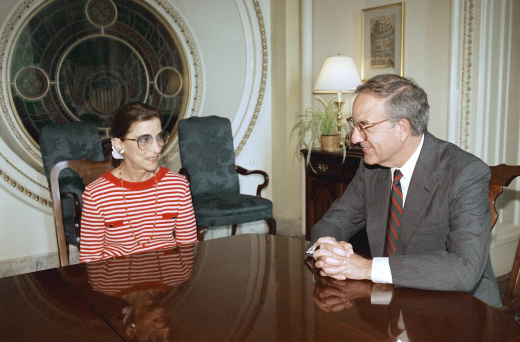 Supreme Court nominee Ruth Bader Ginsburg meets with Senate Majority Leader George Mitchell of Maine on Capitol Hill on Tuesday, June 15, 1993, in Washington. (Marcy Nighswander / The Associated Press)