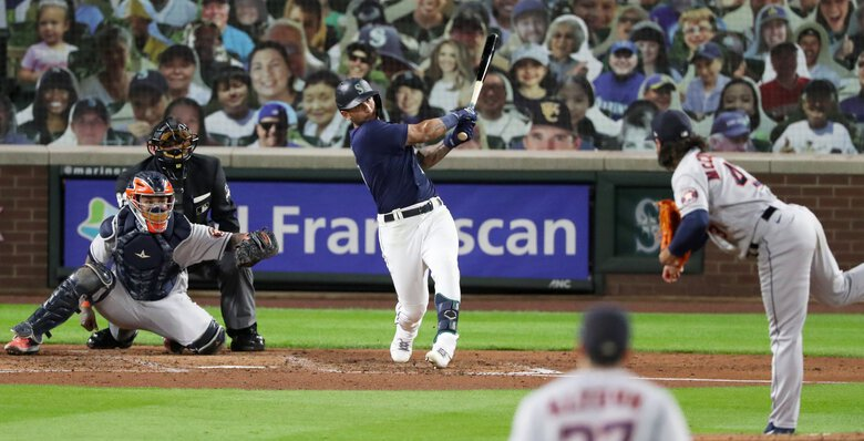 Mariners right fielder Tim Lopes broke up Houston's no-hitter in the sixth inning with a double on Monday at T-Mobile Park in Seattle. (Ken Lambert / The Seattle Times)