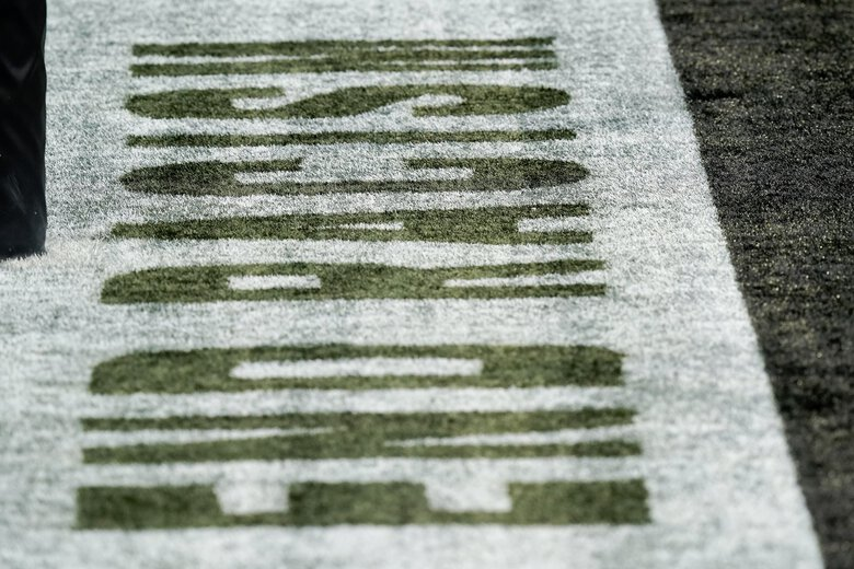 End Racisim signage is seen in the end zone during the first half of an NFL football game between the Atlanta Falcons and the Seattle Seahawks, Sunday, Sept. 13, 2020, in Atlanta. (AP Photo/Brynn Anderson) GAMS1 GAMS1 (Brynn Anderson / The Associated Press)