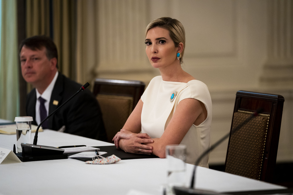 Ivanka Trump participates in a roundtable discussion at the White House in May. President Donald Trump lowered his tax bill by writing off roughly one-fifth of his earnings from many projects as consulting fees. Exactly $747,622 in those fees match payments Ivanka Trump declared on her White House disclosure form. (Doug Mills/The New York Times)