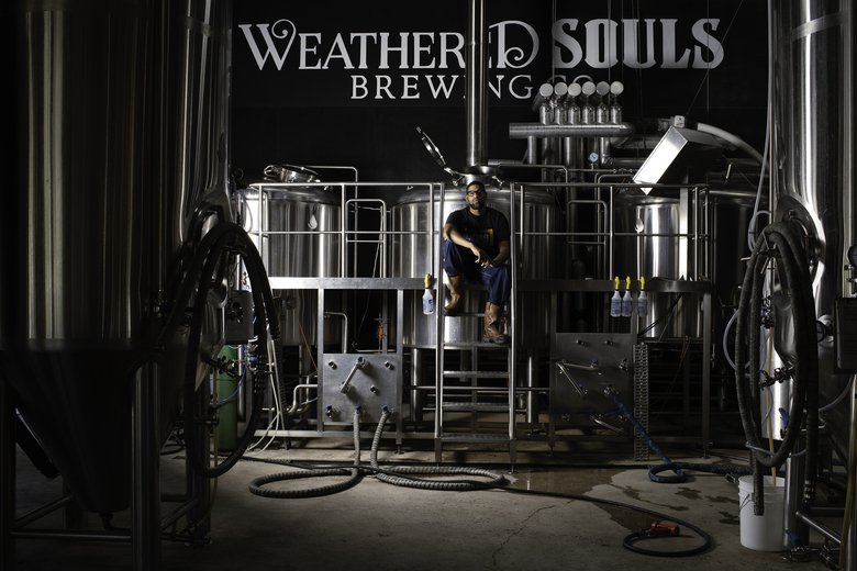 Marcus Baskerville, the head brewer and an owner of Weathered Souls Brewing in San Antonio, Texas on Aug. 5, 2020. As demands for racial equity rise, breweries begin taking steps to address the scarcity of Black people in their ranks. (Andrea Mendoza/The New York Times)