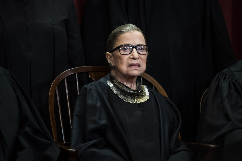 Ruth Bader Ginsburg is pictured in 2018 during a photo session with the Supreme Court. (Washington Post photo by Jabin Botsford).