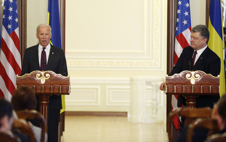 "FILE – In this Jan. 16, 2017, file photo Vice President Joe Biden, left, and Ukrainian President Petro Poroshenko give a joint statement to the press in Kiev, Ukraine. The leaked recordings of apparent conversations between Joe Biden and Ukraine's then-president largely confirm Biden's account of his dealings in Ukraine. The choppy audio, disclosed by a Ukrainian lawmaker whom U.S. officials described Thursday, Sept. 10, 2020, as an ""active Russian agent"" who has sought to spread online misinformation about Biden. (AP Photo/Sergei Chuzavkov, File)"