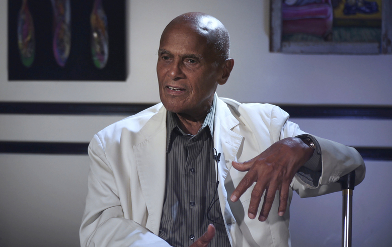 """This image released by Peacock shows Harry Belafonte in a scene from the documentary """"The Sit-In,"""" about a week in 1968 when Belafonte filled in as host of """"The Tonight Show."""" The film airs Friday. (Big Beach/Peacock via AP)"""