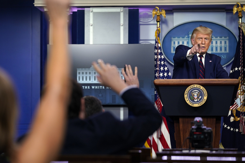 President Donald Trump takes questions as he speaks during a news conference in the James Brady Press Briefing Room at the White House, Friday, Sept. 4, 2020, in Washington. (AP Photo/Evan Vucci)
