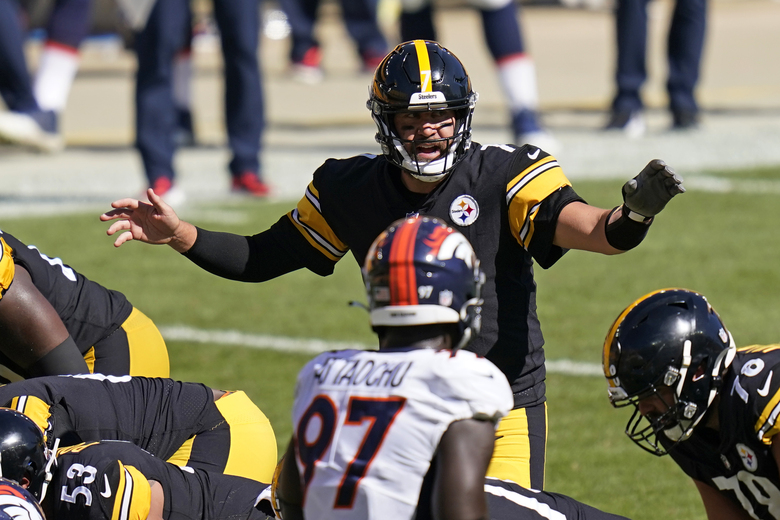 Pittsburgh Steelers quarterback Ben Roethlisberger (7) calls signals during the second half of an NFL football game against the Denver Broncos, Sunday, Sept. 20, 2020, in Pittsburgh. (AP Photo/Keith Srakocic)