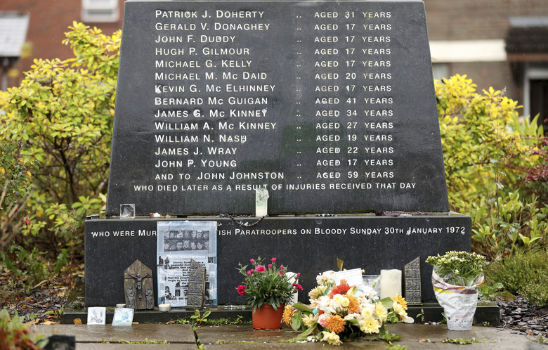 """FILE – This Monday Oct. 14, 2019 file photo, shows the Bloody Sunday memorial with the names of of the victims in Londonderry, Northern Ireland. Prosecutors announced on Tuesday Sept. 29, 2020, that no more British Army veterans will be charged over the 1972 """"Bloody Sunday"""" killings of 13 civil rights protesters in Londonderry. (AP Photo/Peter Morrison)"""