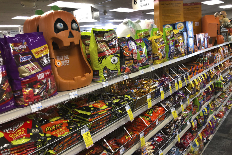 Halloween candy and decorations are displayed at a store in Freeport, Maine, on Wednesday. Sales of Halloween candy were up 13% over last year in the month ending Sept. 6. (Robert F. Bukaty / The Associated Press)