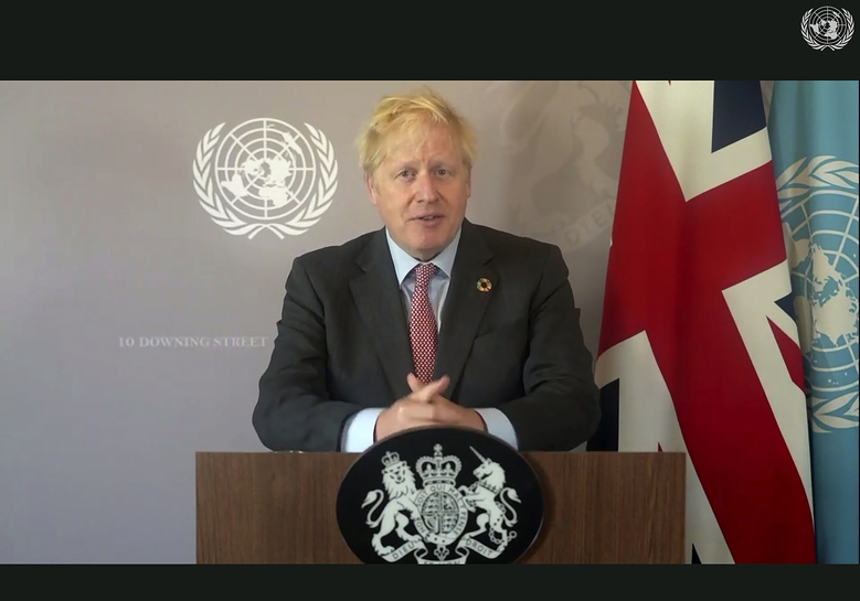 In this photo made from UNTV video, British Prime Minister Boris Johnson speaks in a pre-recorded message which was played during the 75th session of the United Nations General Assembly, Saturday, Sept. 26, 2020, at UN Headquarters. (UNTV Via AP )